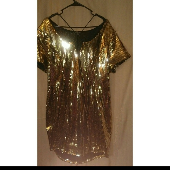 Charlotte Russe Dresses & Skirts - Gold Metallic Dress SIZE 2X